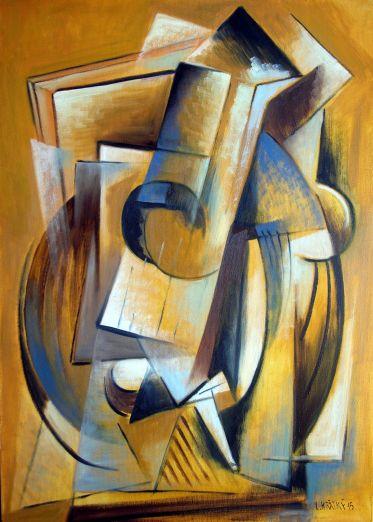 Lubomír Krátký: Mandolína a dýmka (olej na plátně 50 x 70 cm)