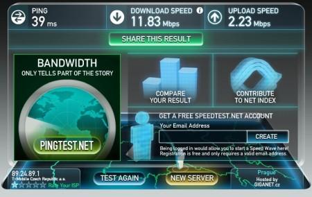 Rychlost připojení 3G internetu